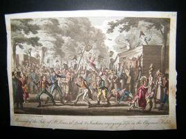George Cruikshank 1822 Hand Col Caricature. Morning of the Fete of St. Louis